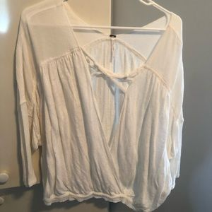 FREE PEOPLE white blouse vneck